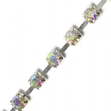 wc166  3.5mm Clear AB rhinestone silver colour diamante chain -- 1meter